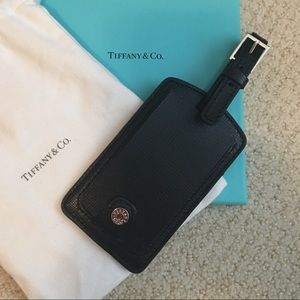 New Tiffany & Co. Black Leather Luggage Tag